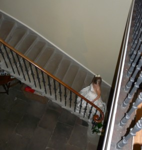 Bride ascends staircase