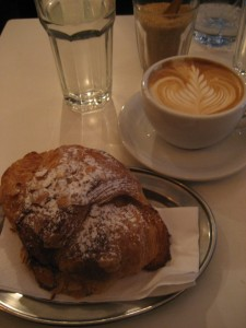 Flat white and croissant